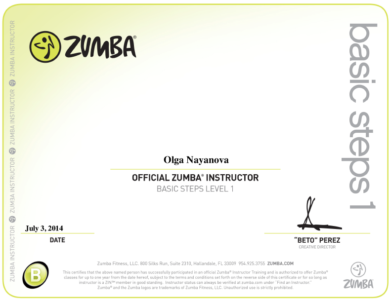 Official Zumba Instructor License