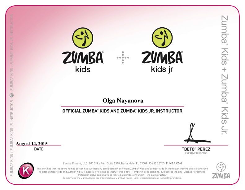 Official Zumba Kids Instructor License
